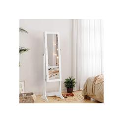 SONGMICS Schmuckschrank JBC94W Spiegelschrank, mit LED Beleuchtung, weiß
