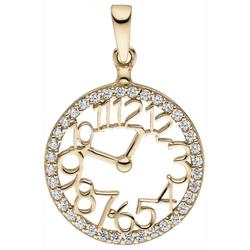 JOBO Kettenanhänger Uhr, 333 Gold mit 36 Zirkonia