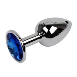 Sandritas Analplug Analplug mit Schmuckstein Blau Metall Butt Plug Kristall