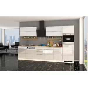 Küche HAMBURG Küchenzeile Einbauküche mit Elektrogeräten 330 cm Hochglanz Weiß
