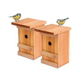 BigDean Vogelhaus 2x Meisennistkasten Meisen Vogelhäußchen Massivholz Vogelhaus 25,5 x 16 x 17 cm Einflugloch 28mm