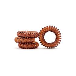 MyBeautyworld24 Spiral-Haargummi Haargummi im Telefonkabel Design (Kunststoff-Spirale) in der Farbe braun, 4er Set