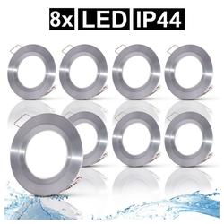etc-shop LED Einbaustrahler, 8x LED Decken Strahler Einbau Spots ALU Strahler Feucht-Raum Wohn Bade Zimmer Lampen rund