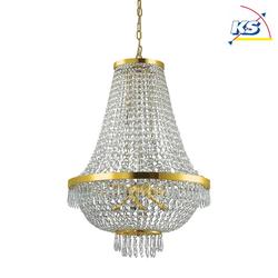 Ideal Lux Pendelleuchte CAESAR, 12-flammig, Ø 55cm,  inkl. G9 28W 2700K, mit Eiszapfen-Kristall-Enden, Gold IDEA-114743