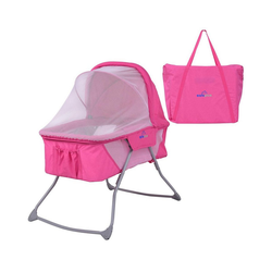 COSTWAY Baby-Reisebett Stubenwagen Babybett, inkl. Moskitonetz&Matratze&Tasche Rosa rosa