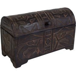 Guru-Shop Truhenbank Halbrunde beschnitzte Balsaholz Truhe in 3 Größen 41 cm x 29 cm x 25 cm