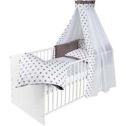 Kinderbett CLASSIC LINE komplett WEIß, weiß, 70 x 140 cm, Big Stars grey