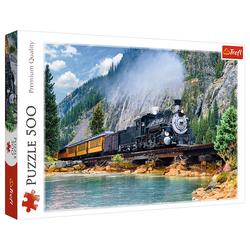 Trefl Puzzle 37379 Dampflok in den Bergen 500 Teile Puzzle, 500 Puzzleteile