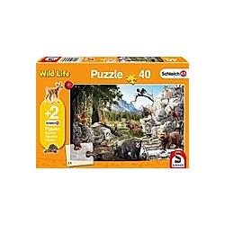 Schleich  Die Tiere des Waldes (Kinderpuzzle) + 2 Figuren