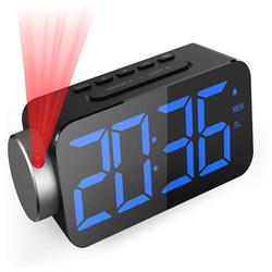 GlobaLink Projektionswecker GlobaLink Projektionswecker [6.5 Zoll LED-Anzeige] Digital Wecker Projektionsuhr mit Snooze-Funktion FM Radio USB-Anschluss (Blau) und 3 Helligkeit Rote Projektion Ziffer 180° Projektionsanzeige