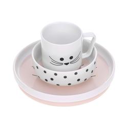 Lässig Kindergeschirr-Set Kindergeschirrset aus Porzellan und Silikon, rosa