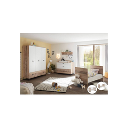 Lomadox Babyzimmer-Komplettset ROANNE-78, (5-tlg), Komplettset Babyzimmer in Eiche Old Style hell / weiß
