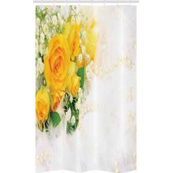Abakuhaus Duschvorhang Badezimmer Deko Set aus Stoff mit Haken Breite 120 cm, Höhe 180 cm, Gelb Blumenstrauß der romantischen Blumen