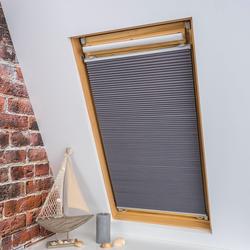 Dachfensterplissee, Universal Dachfenster-Plissee, Liedeco, verdunkelnd, ohne Bohren, verspannt, grau