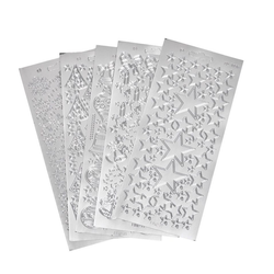 VBS Sticker Reliefsticker-Set Xmas, 5 Blatt silberfarben