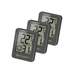 BRESSER Thermometer Temeo Hygro 3er Set Thermometer Hygrometer grau