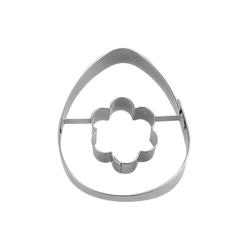 STÄDTER Ausstechform Ausstechform Ei mit Blume Ostern, Edelstahl