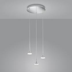 Helestra Flute LED Pendelleuchte, 3-flg., mit Rondell