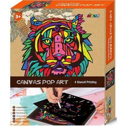 Avenir 6301343 - Canvas Pop Art, Tiger, Schablonen-Malerei, Malset