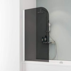 Schulte D1650 Duschwand Komfort, 80 x 140 cm, 5 mm Sicherheitsglas grau anthrazit, alpinweiß, Duschabtrennung für Badewanne
