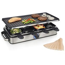 PRINCESS Raclette, 8 Raclettepfännchen, 1400 W, 4in1 RACLETTE Gerät für 2-8 Personen, eckiger Tischgrill Raclet, mit wendbarer Grillplatte 1400 Watt