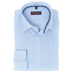 MARVELIS Streifenhemd Hemd - Body Fit - Gestreift - Hellblau/Weiß 40