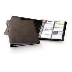 DURABLE Visifix® Visitenkartenalbum für 400 Visitenkarten, Kartenbuch mit 4-Ringmechanismus zum Aufbewahren von Visitenkarten, Maße: 261 x 315 mm, braun