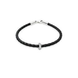 Elli Armband Leder mit Bead Kristalle 925 Silber 19 cm