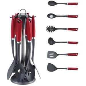 Michelino Küchenhelfer-Set Michelino 7-teiliges Küchenhelfer-Set im edlen Design Utensilienset Kochbesteck Küchenhelfer, schwarz