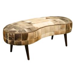 Casa Padrino Luxus Sitzbank mit Kuhfell 130 x 60 x H. 50 cm - Designermöbel
