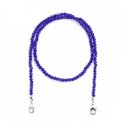 null Karat Kette ohne Anhänger Kristallglas (Maskenkette) blau