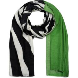 styleBREAKER Schal Schal mit Zebra Muster und Fransen Schal mit Zebra Muster und Fransen grün