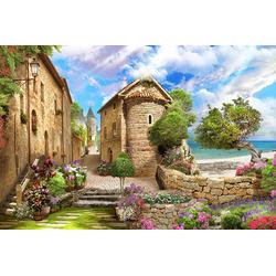 DesFoli Poster Mediterranes Dorf Strand P2598 70 cm x 50 cm