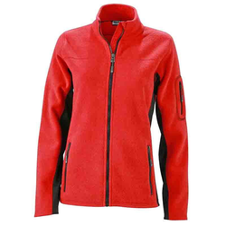 Damen Arbeits Fleecejacke - STRONG - (red/black) XXL