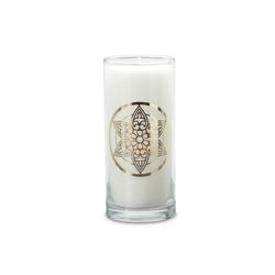 yogabox Duftkerze Weiß mit goldenen Etikett MANDALA