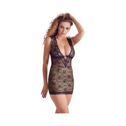 Kleid aus schwarzer Spitze, nudefarben unterlegt