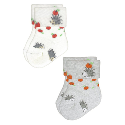 Rogo Socken Igel (2-Paar) mit gemustertem Umschlagrand