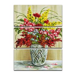 Bilderdepot24 Leinwandbild, Leinwandbild - Bouquet in einer Kristallvase 80 cm x 120 cm