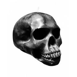 Horror-Shop Kerzenständer Totenschädel-Kerze als Gothic & Halloween Deko schwarz