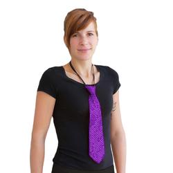 Krawatte Schlips Pailletten Glitzer - lila