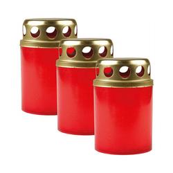 HS Candle Grabkerze (3-tlg), Grabkerze Grablicht Grableuchte mit goldenem Deckel
