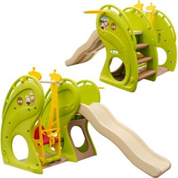 Kinderrutsche mit Schaukel 180x110x120 cm Kunststoff Kinderschaukel mit Rutsche Spielhaus