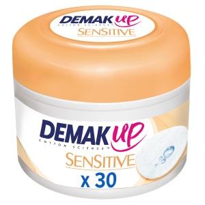 Demak´Up Sensitive Augen Make-up Entferner, Imprägnierte Wattepads aus Baumwollextrakten, 1 Dose = 30 Stück