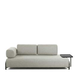 Zweier Sofa in Beige Stoff abnehmbarerem Stecktisch