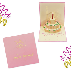 3D Geburtstagskarte Grußkarte Happy Birthday Pop Up Karte - rosa