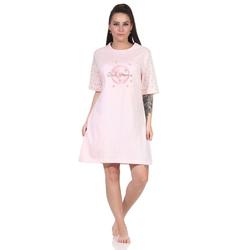RELAX by Normann Nachthemd Damen Nachthemd, Bigshirt kurzarm in romantischer Optik