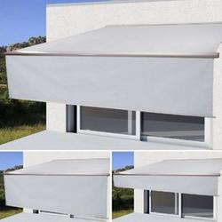 Elektrische Kassetten-Markise H124, Vollkassette, 4,5x3m ausfahrbarer Volant ~ Acryl Creme