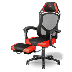 Trust Gaming GXT 706 Rona Gaming Stuhl, rot, mit Fußstütze