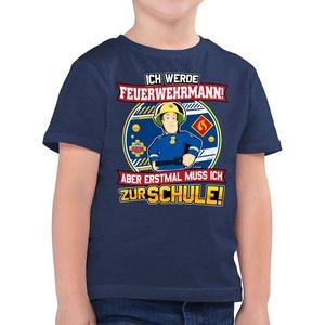 Shirtracer T-Shirt Einschulung - Ich werde Feuerwehrmann - Aber erst mal muss ich zur Schule - Feuerwehrmann Sam Jungen - Jungen Kinder T-Shirt 104 (3/4 Jahre)
