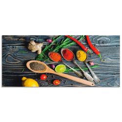 Artland Küchenrückwand Gewürze in Metalllöffeln, (1-tlg) 150 cm x 65 cm x 0,3 cm